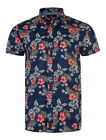 Threadbare New Mens  Shirt Short Sleeve Cotton Floral Flower Print Top Blue Red