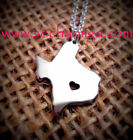 State of Texas Necklace Charm, Texas Heart Pendant   Handmade In America  Silver