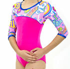 girls gymnastic dance  leotard odettedancesport comik pow 3/4 sleeve