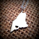 """Maine STATE CHARM NECKLACE -1"""" Small Pendant Jewelry Tiny Map HANDMADE IN USA!!"""