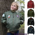 New Kids Girls MA1 Flight Badge Classic Retro Military Bomber Harrington Jacket