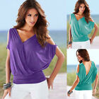 Summer Sexy Women V-neck Off Shoulder Casual Tops Open Back Plain Blouse T-shirt