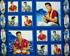 RARE ELVIS Blue HAWAII : 100% VIP licensed fabric : FINAL panel of 4