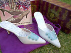 Christian Audigier White Blue High Heel Shoes  Leather High Heel pumps 6-10US
