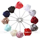 12pc Handmade Rose Flower Boutonniere Stick Men's Brooch Lapel Pin With Gift Box