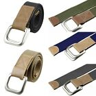 Men's Canvas Webbing Leather Double D-Ring Buckle Casual Strap Waistband Belt