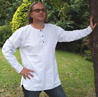 FAIR TRADE NEPALESE COTTON STONE WASHED KURTA SHIRT BLACK WHITE SIZES M - 3XL