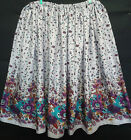 LADIES SKIRT LILAC FLORAL BORDER HANDMADE IN UK size 10 12 14 16 boho gypsy