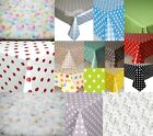 PLASTIC PVC VINYL OIL TABLE CLOTH PLAIN POLKADOTS VINTAGE ALL OCCASIONS CLEAR