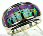 Handcrafted Inlay Multicolor & Fire Opal Pueblo 925 Sterling Silver Ring size 9