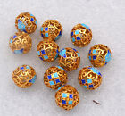 New 14mm cloisonne beads Buddhist character Jewelry accessories gifts #21