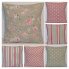 Clarke & Clarke Mix Match Sage Pink Milly Daisy Floral Stripe Spot Cushion Cover