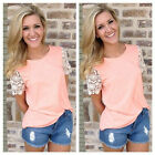 Fashion Women Summer Vest Top Blouse Casual Tank Tops Lace T-Shirt Short Sleeve