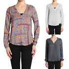 TheMogan Printed Woven V-neck Pleated Back Blouse Long Sleeve Henley Shirt Top