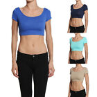 TheMogan Scoop Neck Short Sleeve Crop Tee Sexy Plain Cropped T-shirts Top