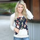 Fashion Women Cotton Long Sleeve Floral Blouse T-shirt Casual Loose Tops TXWD