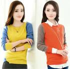 Fashion Spring Cashmere Knit Crew neck Collision Color Shirt Sweater Cardigan