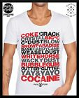 MENS MID-DEEP SCOOP NECK FASHION T SHIRT Tattoo RETRO cocaine word sexy club top