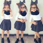 Kids Baby Girl Outfit Clothes Long Sleeve T-shirt+Mini Tutu Skirt Dress 2PCS Set