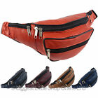 NEW Ladies Mens Leather Waist Bum Bag Handy Travel Holiday 4 Pockets Security