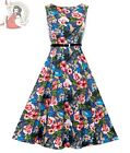 LADY VINTAGE 50's HEPBURN KINGFISHER DRESS BLUE