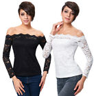 KK Sexy Women's Long Sleeve Floral Lace Off Shoulder Tee Tops 2 Colors Casual