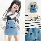 Baby Kids Girls Long Sleeve Cartoon Print Dress  Party Casual Tutu Skirt 2-6Y