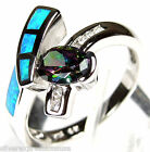 Rainbow Topaz & Blue Fire Opal Inlay Solid 925 Sterling Silver Ring size 6,7,8,9