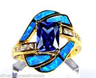 18K Gold Plated 925 Sterling Silver,Tanzanite & Blue Fire Opal Inlay Ring 6789