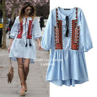dp245 CFLB Embroidered Cotton Chambray Vintage Boho Dress Summer Dress 8, 10, 12