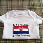 Croatia Flag / Personalize with name Baby Bodysuit Embroidered