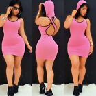 Sexy Ladies Womens Hooded Bandage Bodycon Club Wear Evening Cocktail Party Dress