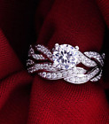 Womens Round Cut CZ White Gold Filled Wedding Ring Set Engagement Band Size 5-9