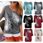 Fashion Women Short Split Sleeve Loose Casual feather Print T-shirt Tops Blouse
