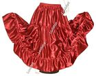 Belly Dance Red Satin 4 Tier Gypsy Skirt Costume Tribal Ruffle Jupe 27 Colors