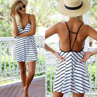 Womens Sexy V neck Short Mini Dresses tops Summer Beach Party Sundress