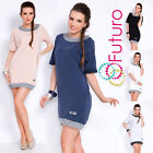 Womens Mini Jumper Dress Short Sleeve Boat Neck Cotton Tunic Size 8-12 FT3003A