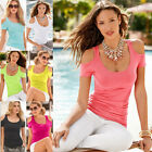 Womens Short Sleeve Strapless Sexy T-shirt Blouse Summer Off Shoulder Casual Top