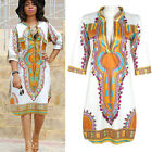 Women Summer Dress African Print Bodycon Sexy Deep V Neck Slim Dress EW