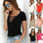 Womens Summer V Neck Lace Up T-Shirt Short Sleeve Loose Casual Top Blouse Hot