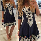 Newest Women Summer Lace Long Sleeve Party Evening Cocktail Short Mini Dress