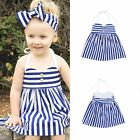 Toddler Kids Baby Girls Outfits Clothes Summer Princess Dress+Headband 2PCS Sets