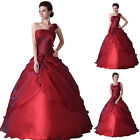 NEW Long Ball Gown Bridal Formal Evening Party Prom Wedding Masquerade RED Dress
