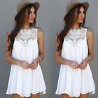 Women Sexy Summer Casual Chiffon Dress Sleeveless Evening Party Beach Mini Dress