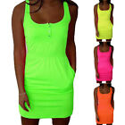 Sexy Fashion Ladies Fluorescence Color Waist Belt Sleeveless Dress Mini Simple