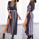 Womens Maxi Boho Floral Summer Beach Long Skirt Evening Cocktail Party Dress TX