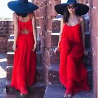 Women  Sexy Summer Loose Chiffon Sleeveless Backless Ruffle  Beach Long Jumpsuit