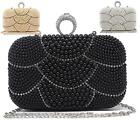 NEW LADIES BEADED FASHION HARD CASE EVENING DIAMANTE OCCASION CLUTCH BAG