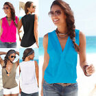 Sexy Women's Summer Beach Wear Blouse Sleeveless V Neck Vest Casual T-Shirt Tops