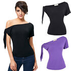 Summer Sexy Womens Off Shoulder Short Sleeve Casual T-Shirt Tops Slim Fit Blouse